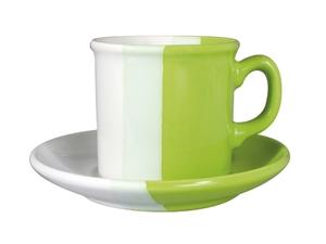 šálek + podšálek bílá/zelená keramika
